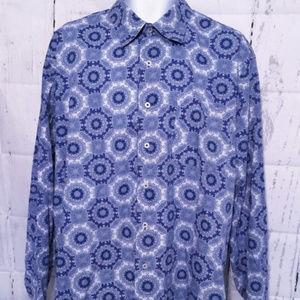 Alan Flusser blue floral button down paisley.  L.
